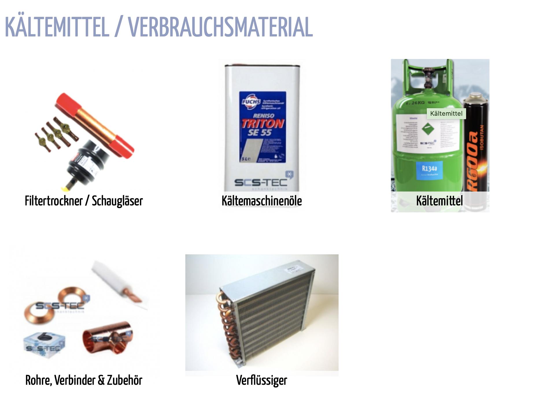 Kältemittel / Verbrauchsmaterial